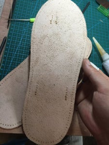 Now Sew the Sole Around Stitching Hole, Also Sew Herringbone On.