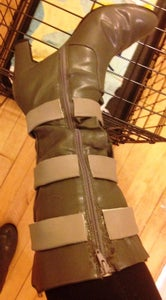 Cut the Nylon Webbing Into Six Segments and Attach Them Around the Shaft of Each Boot.