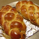 Houska Bread- a Traditional Raisin Bread Made With Eggs and Golden Raisins