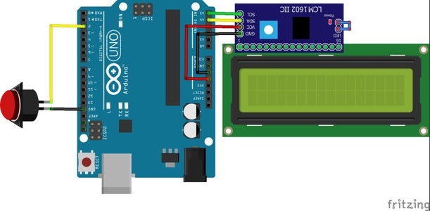 Connect the LCD and PUSH Button to Arduino