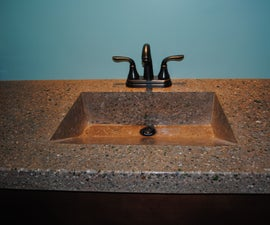Concrete Countertop With Integrated Sink and Fiber Optics