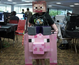 Steve riding a pig Minecraft cardboard halloween costume