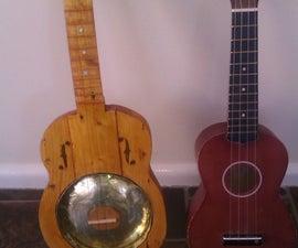 Resonator ukulele from dolmade tin and scrap wood