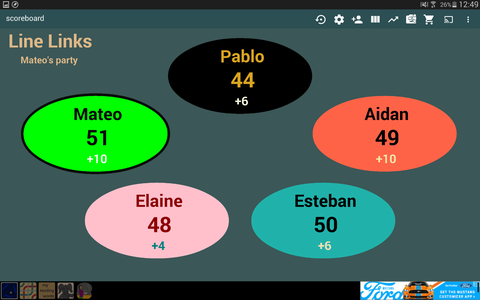 Updating the Score of Each Player