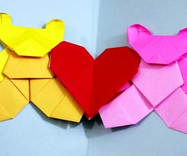 Easy Origami Love Bears [Valentine's Day Heart Card]!