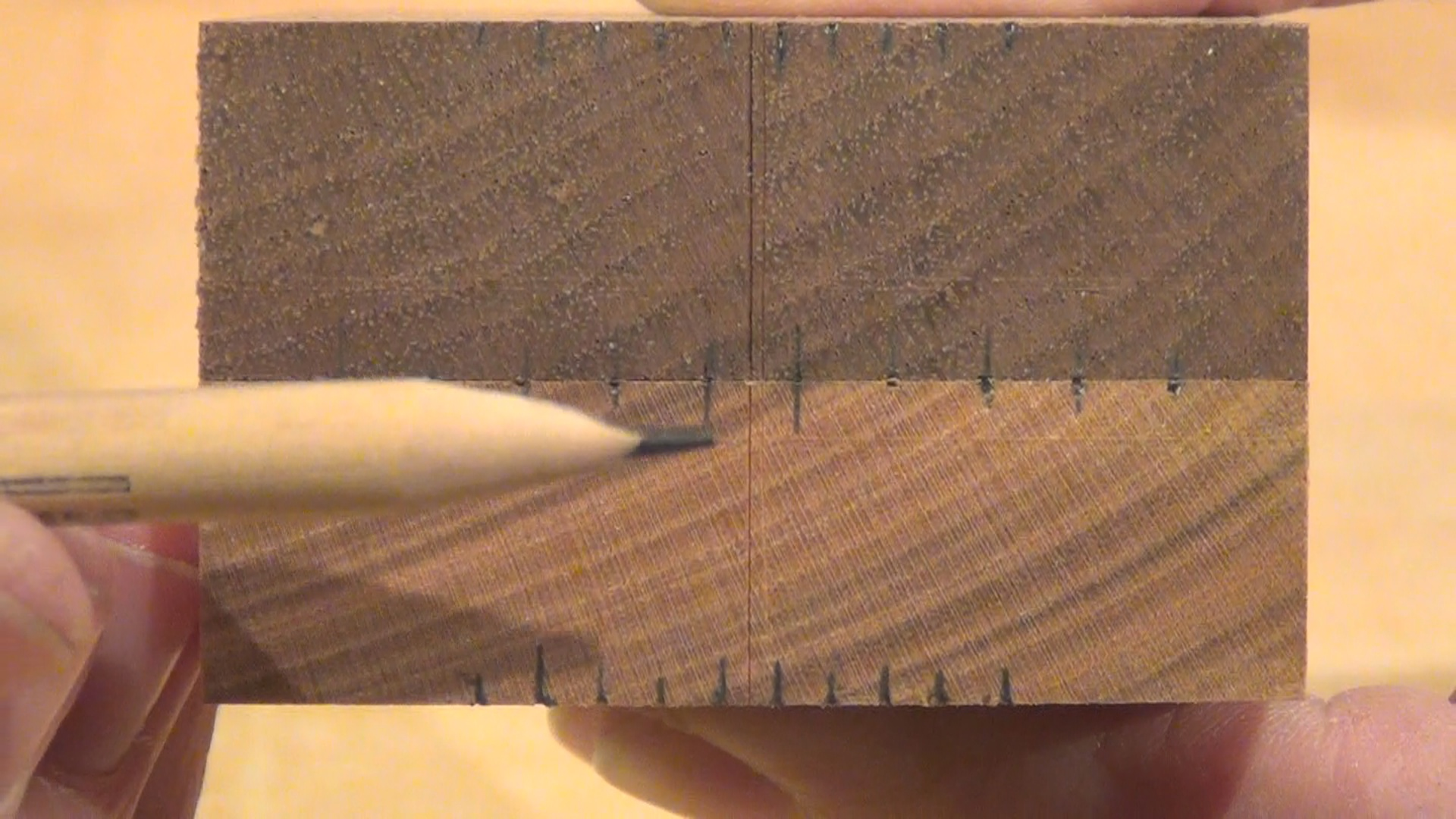 Picture of Mark Off Pin Ends on End Grain