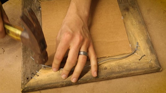 Cutting and Stapling Frame Wire to the Back of the Frame