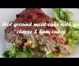 Hot Ground Meat Cake With Goat Cheese & Ham Cubes Recipe