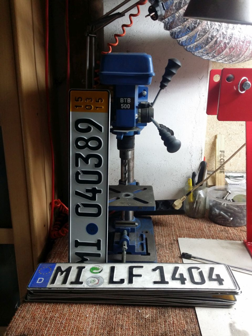 Picture of Mounting for Stackable Storage Bins Made From Old License Plates
