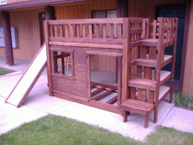 Diy Bunk Bed Set With Stairs Cubbie Shelves And Of Course A Slide Instructables