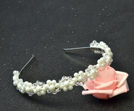 Beebeecraft Tutorials on Making a Wedding Headband With Pearl Beads and Crystal Glass Beads
