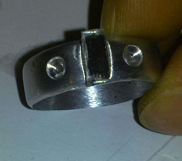 Aluminum ring and cross with glass matching set