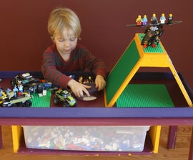 LEGO table with integrated parts bin