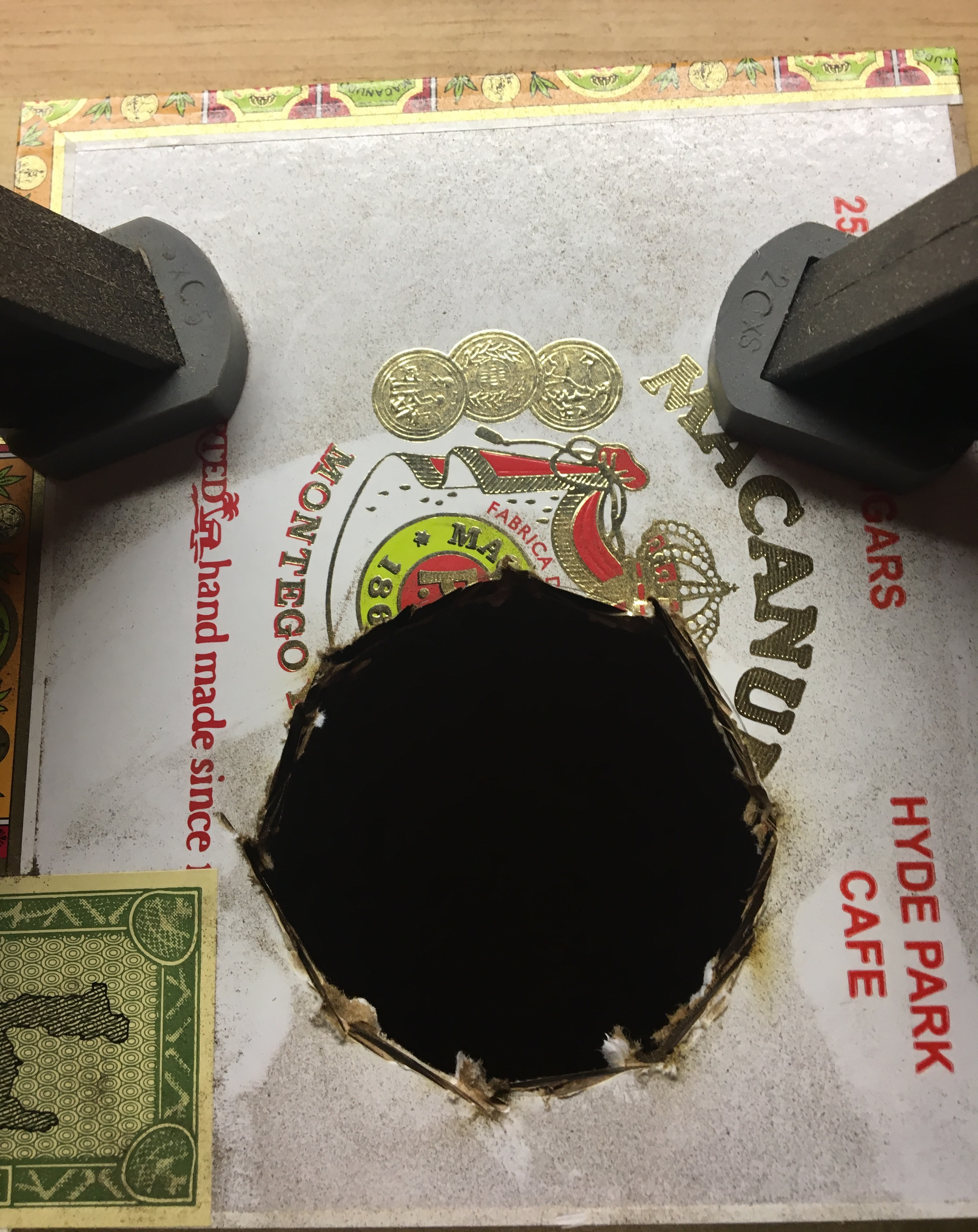 Picture of Cut Out the Hole in Your Cigar Box Lid.