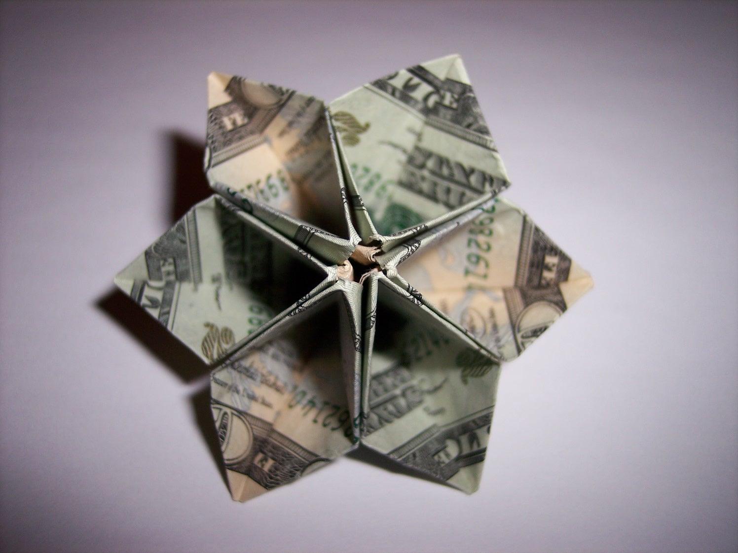 Origami Dollar Flower 11 Steps