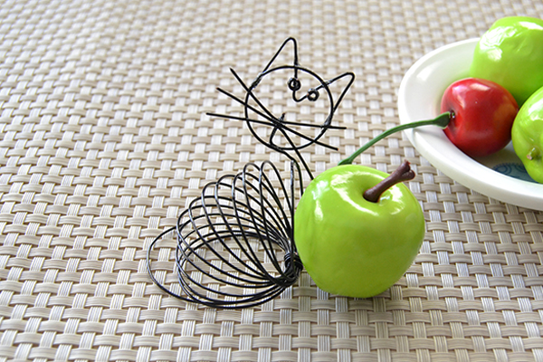 Picture of Here Is the Final Look of the Cute Black Wire Wrapped Cat Craft.