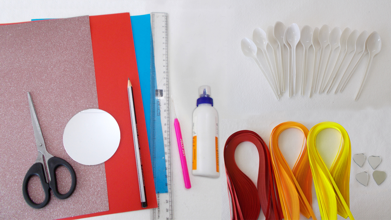 Picture of Material Required for Making Plastic Spoon and Mirror Wall Decor.