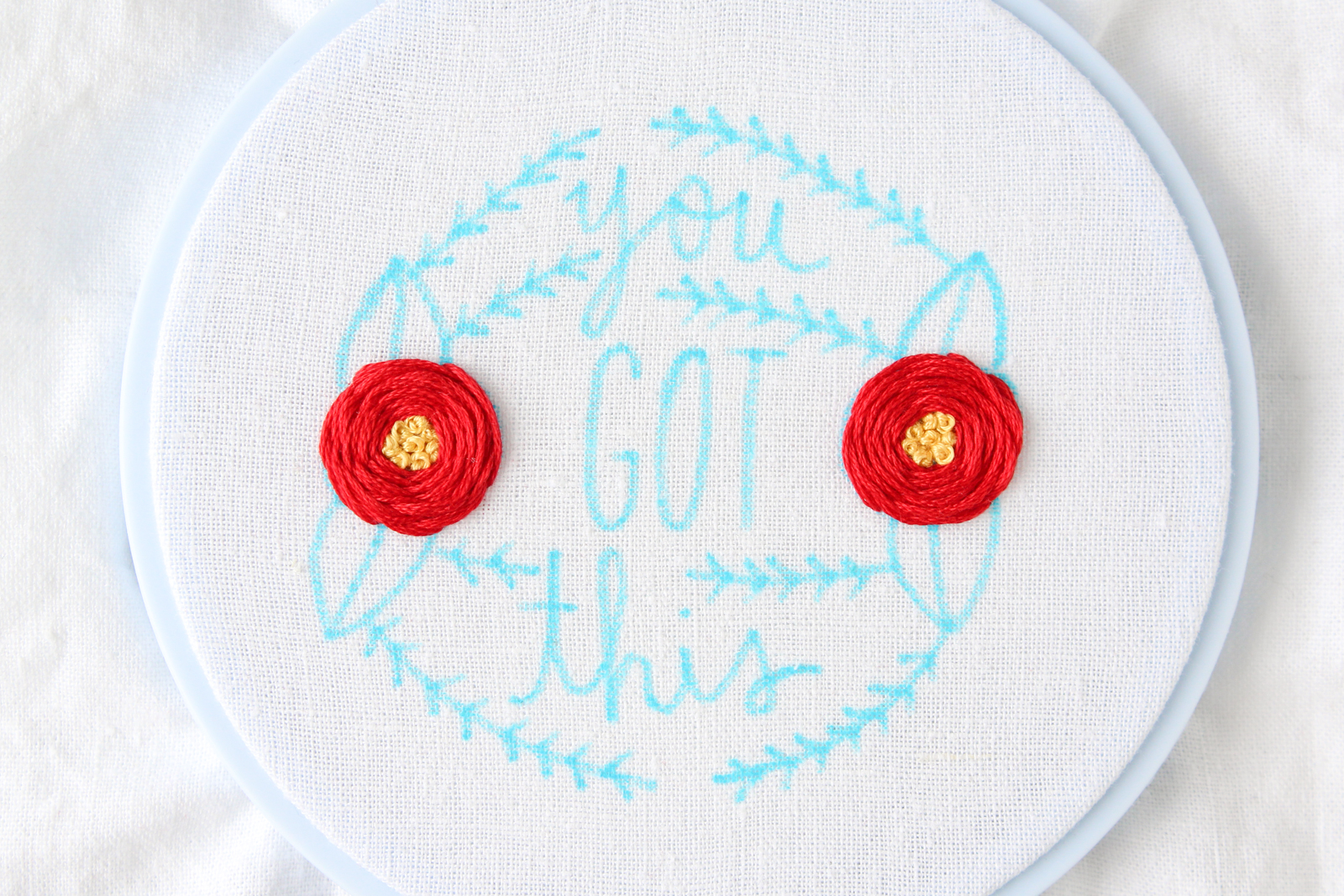 Picture of Embroidered Flowers With French Knot Centers