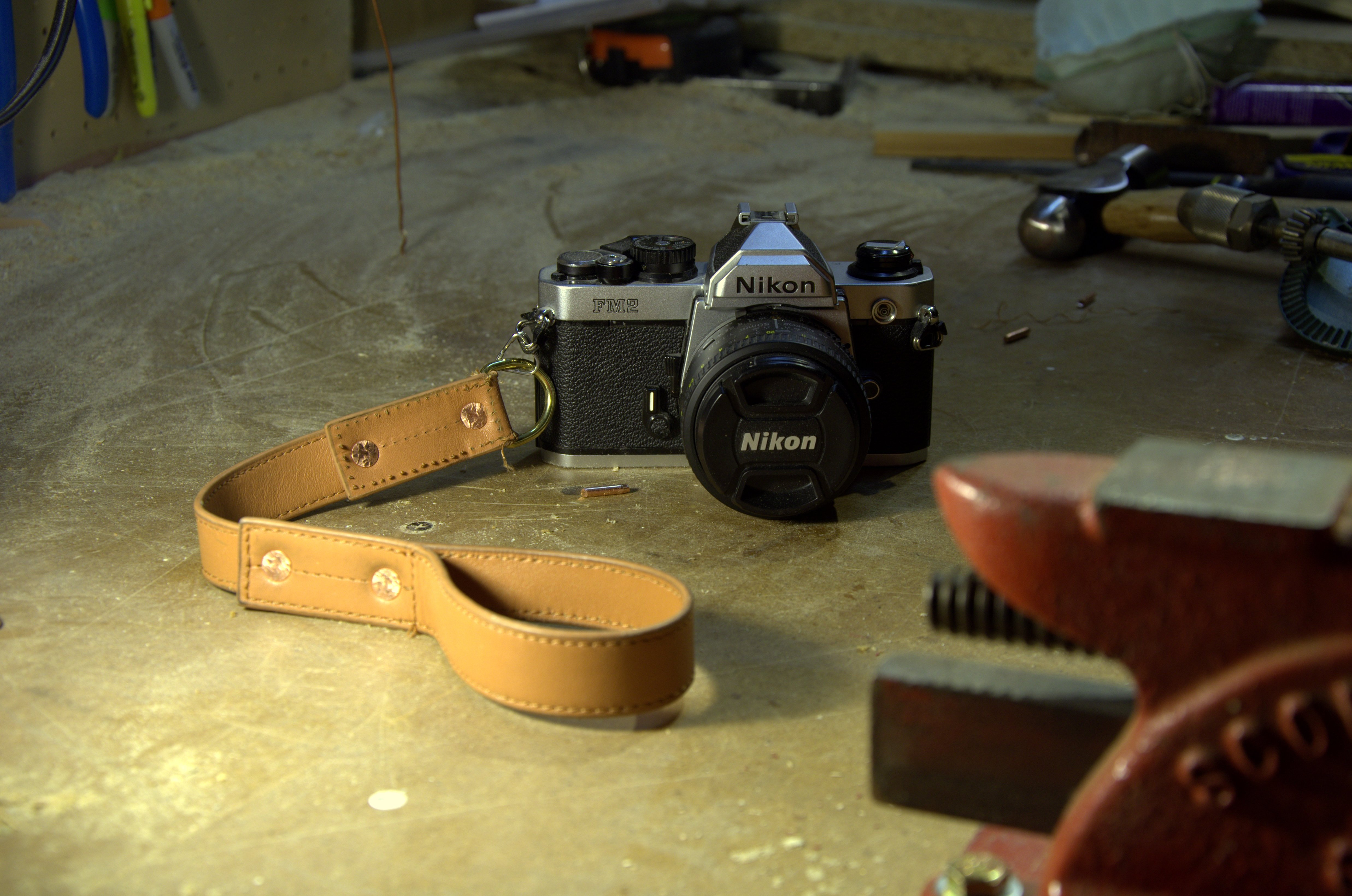 Picture of Riveted Leather Camera Wrist Strap