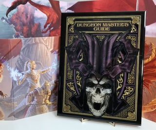 Dungeon Masters Guide Cover Art Made From Wood and Resin