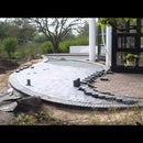 HOW TO BUILD ROUND PAVER BRICK PATIO | LAY TWO COLOR CLINKER STONES | INDIVIDUAL TERRACE