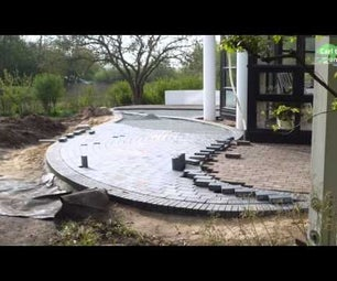 HOW TO BUILD ROUND PAVER BRICK PATIO   LAY TWO COLOR CLINKER STONES   INDIVIDUAL TERRACE