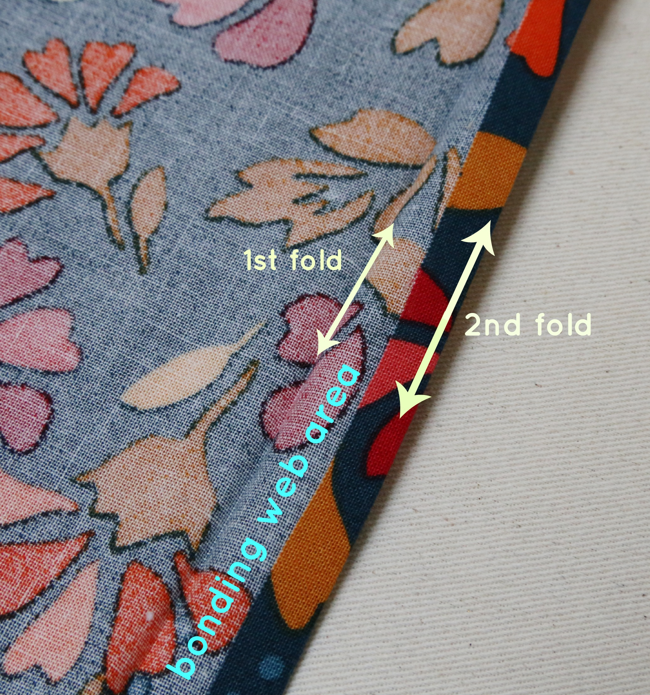 Picture of Fold Over Again and Iron in Bonding Web