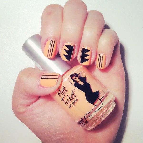 Fashion Inspired Nail Design #1 - Coral & Black