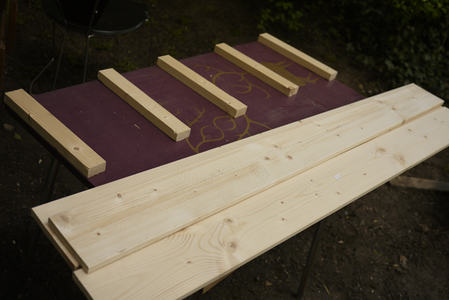 Put Together the Seat Lid: Attach the First Seat Board to the Cleats.
