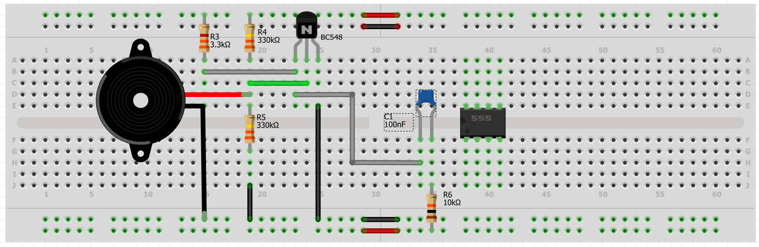 Picture of Transistor and NE555 Connection