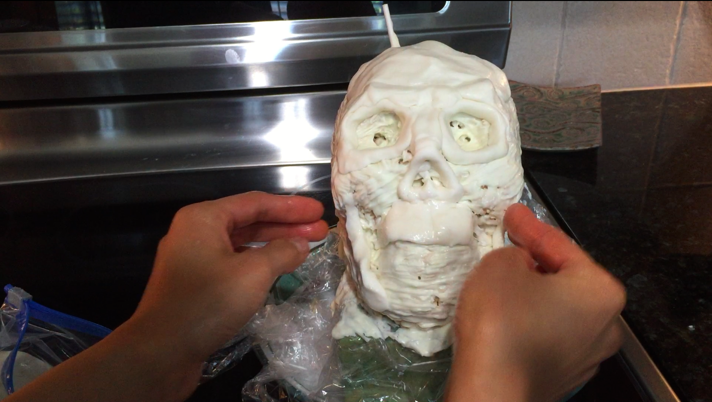 Picture of Allow the Chocolate to Harden in the Fridge, Then Add Detail to the Skull With Gum Paste