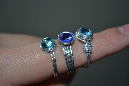 Wire and Rhinestone Ring