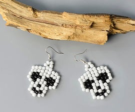 How to Make a Pair of White and Black Seed Bead Stitch Skull Earrings for Halloween