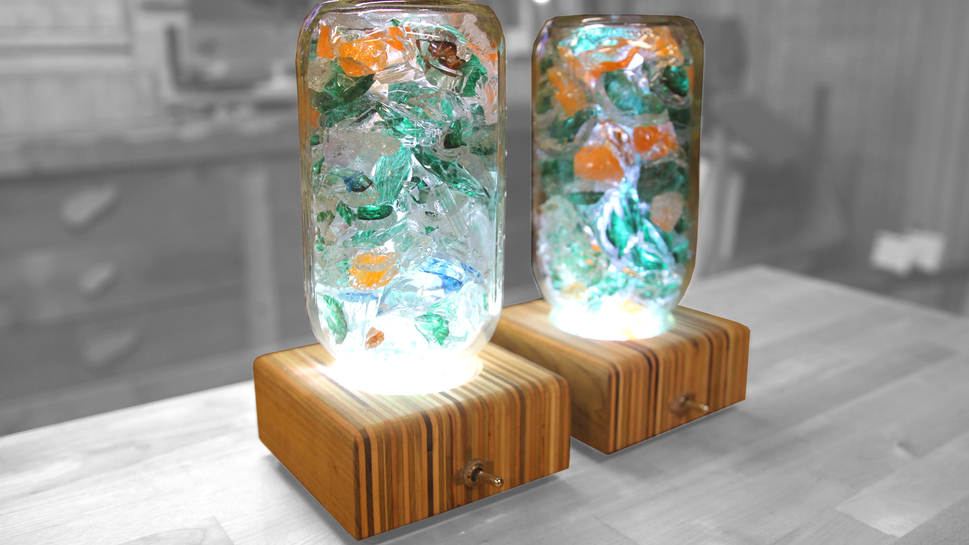 Picture of Upcycled Glass Lamps With Mason Jar