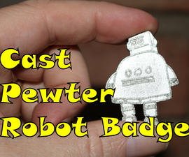 Cast Pewter Robot Badge