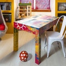 Table With Patchwork From Wood Scraps