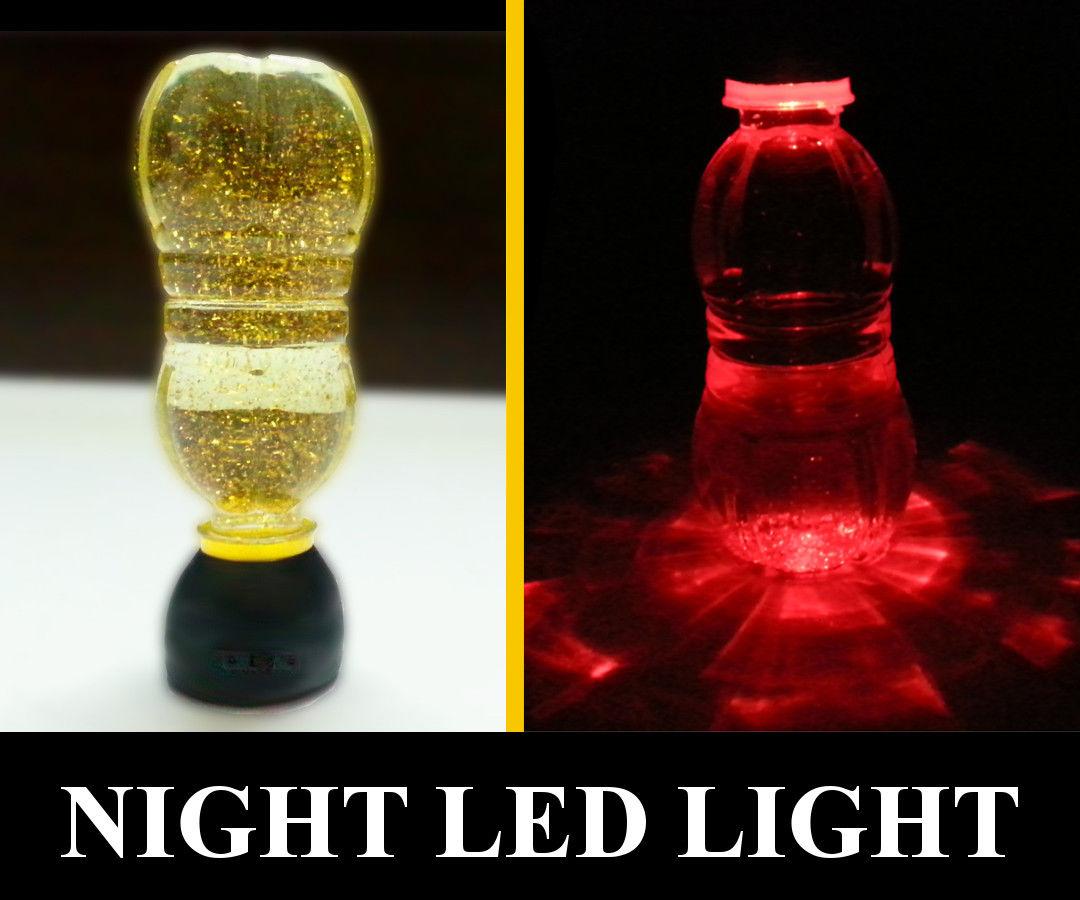 Black Cap Solar Water Bottle Night Light Lamp Night Drink LED Light