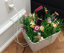 Flowerbox for Hiding Cables and Charging Gadgets