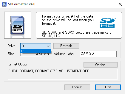 Picture of SD Formatting