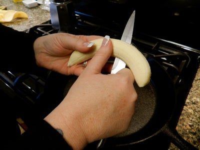 Peel the Bananas and Cut in Half Length-wise.