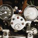 Honda CB450DX-K Custom Dashboard - Made From a Cotton Bud Jar.