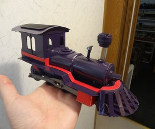 Train Locomotive Made Out of Cardboard With Electric Motor.