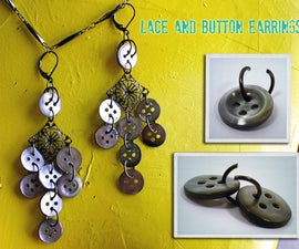 Lace and Button Earrings