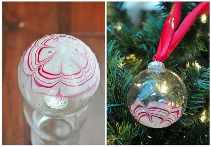 Candy Cane Marbled Monogram Ornaments