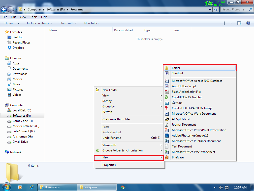 Picture of Start by Creating an New Folder