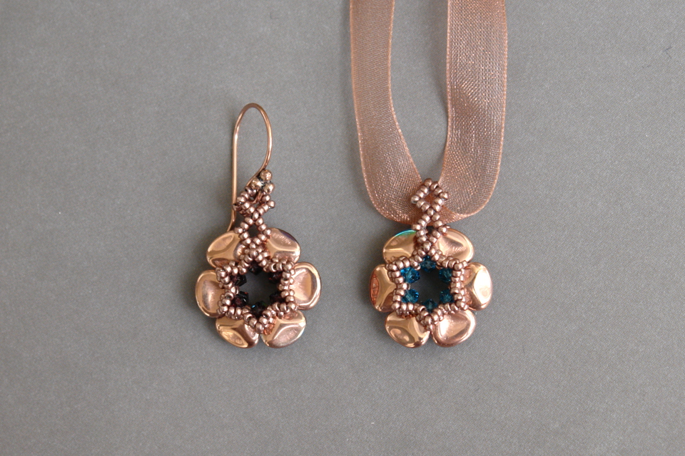 Picture of Beaded Earrings - Czech Rose Petals - Beading and Jewelry Tutorial