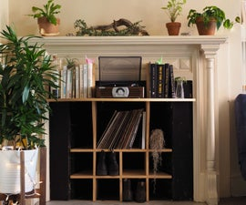 Old Fireplace, New Record Storage Console!