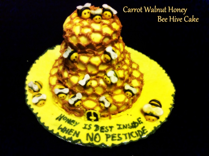 Picture of The Carrot Walnut Honey Bee Hive Cake