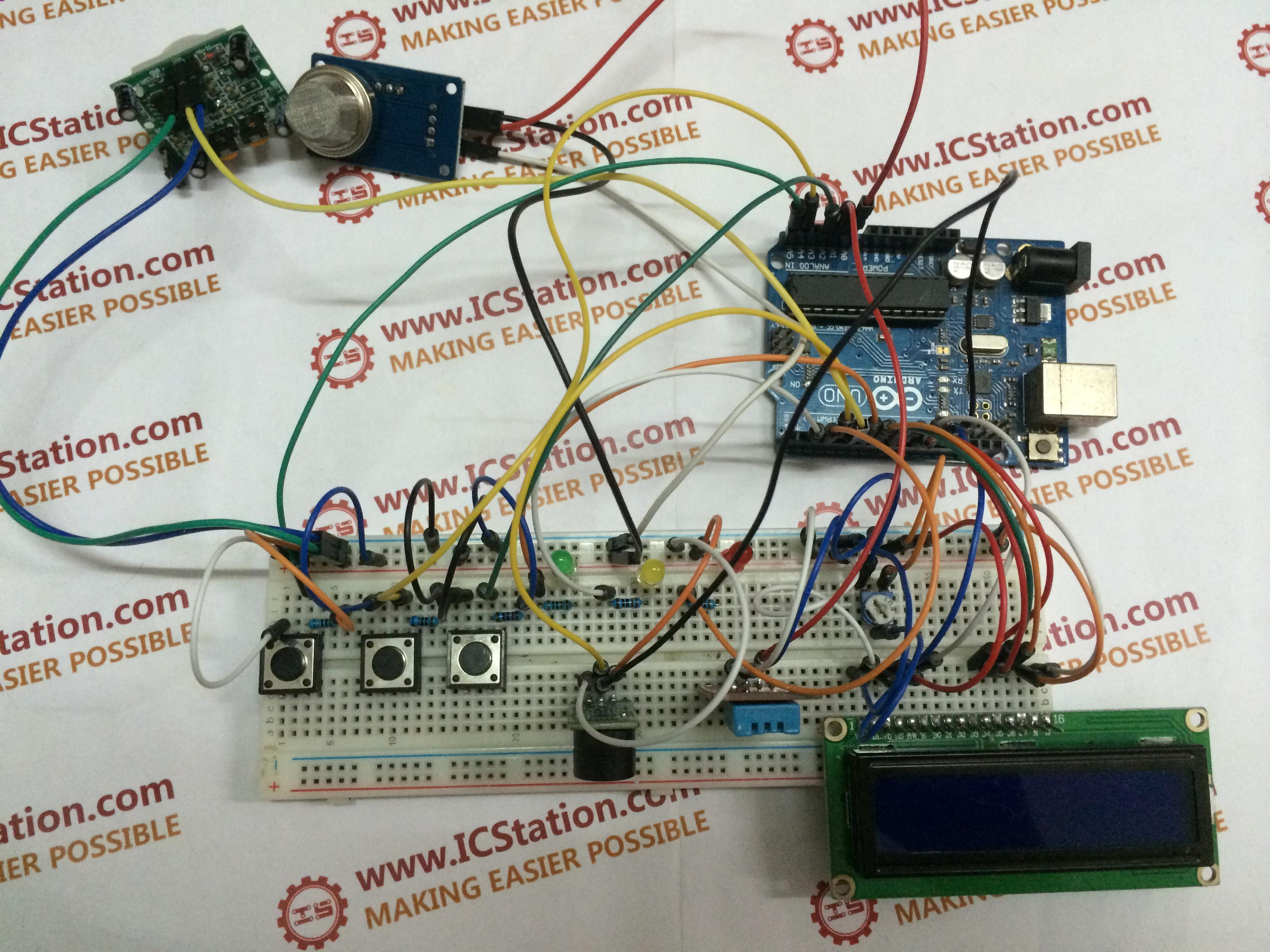 Picture of Human Body Infrared Smoke Temperature Alarm System With Arduino