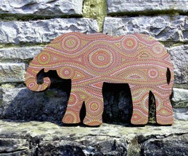 MDF African Painted Elephant Decor